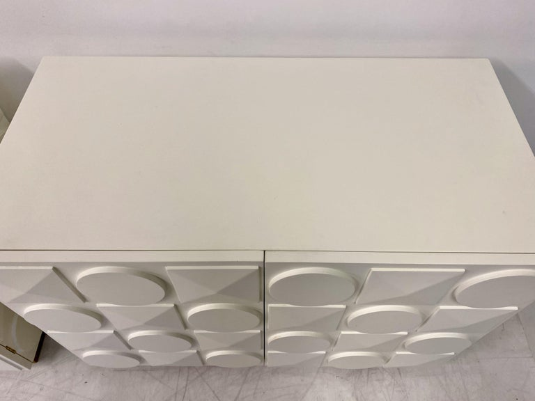 Pair of Italian White Postmodern Style Cabinets For Sale 6