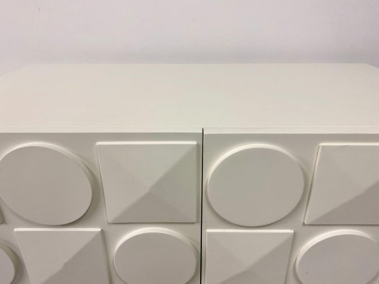 Pair of Italian White Postmodern Style Cabinets For Sale 7