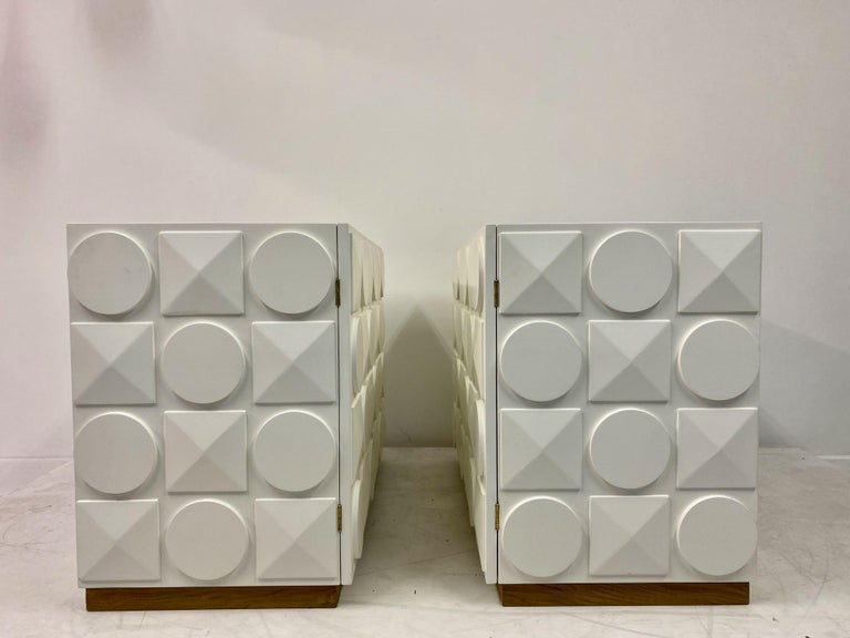 Pair of Italian White Postmodern Style Cabinets For Sale 1