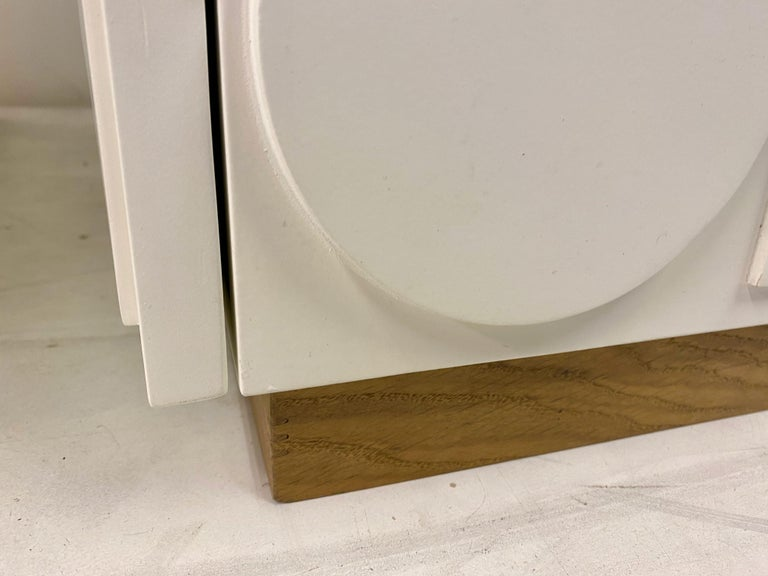 Pair of Italian White Postmodern Style Cabinets For Sale 2