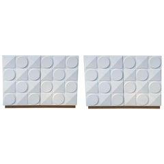 Pair of Italian White Postmodern Style Cabinets