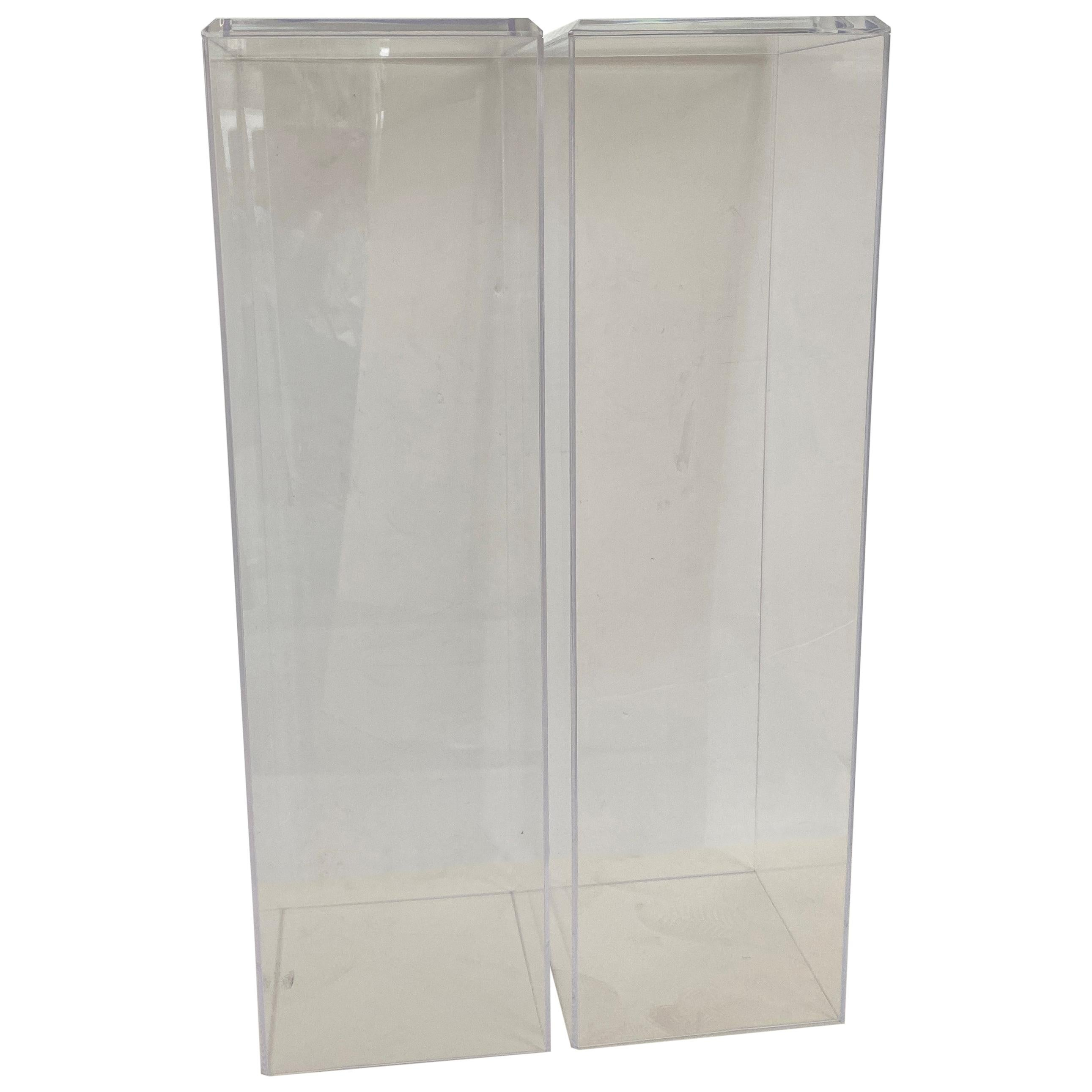 Pair of Bespoke Lucite Pedestals by Iconic Snob Galeries