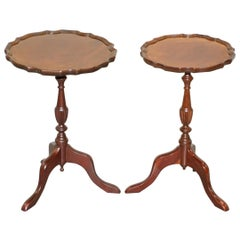 "Pair of Bevan Funell ""His & Her"" Vintage Mahogany Tripod Lamp Side End Tables"