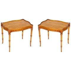 Pair of Bevan Funnell Burr Yew Wood Occasional Side End Lamp Wine Tables Patina!