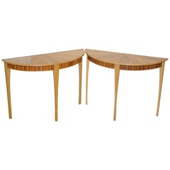 Pair of Bevan Funnell Phoenix Zebrano Wood Demilune Console Tables 2