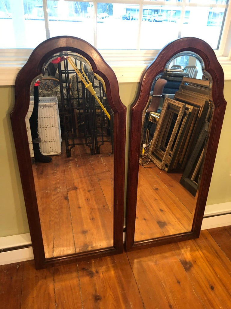 Hollywood Regency Pair of Beveled Arched Mirrors