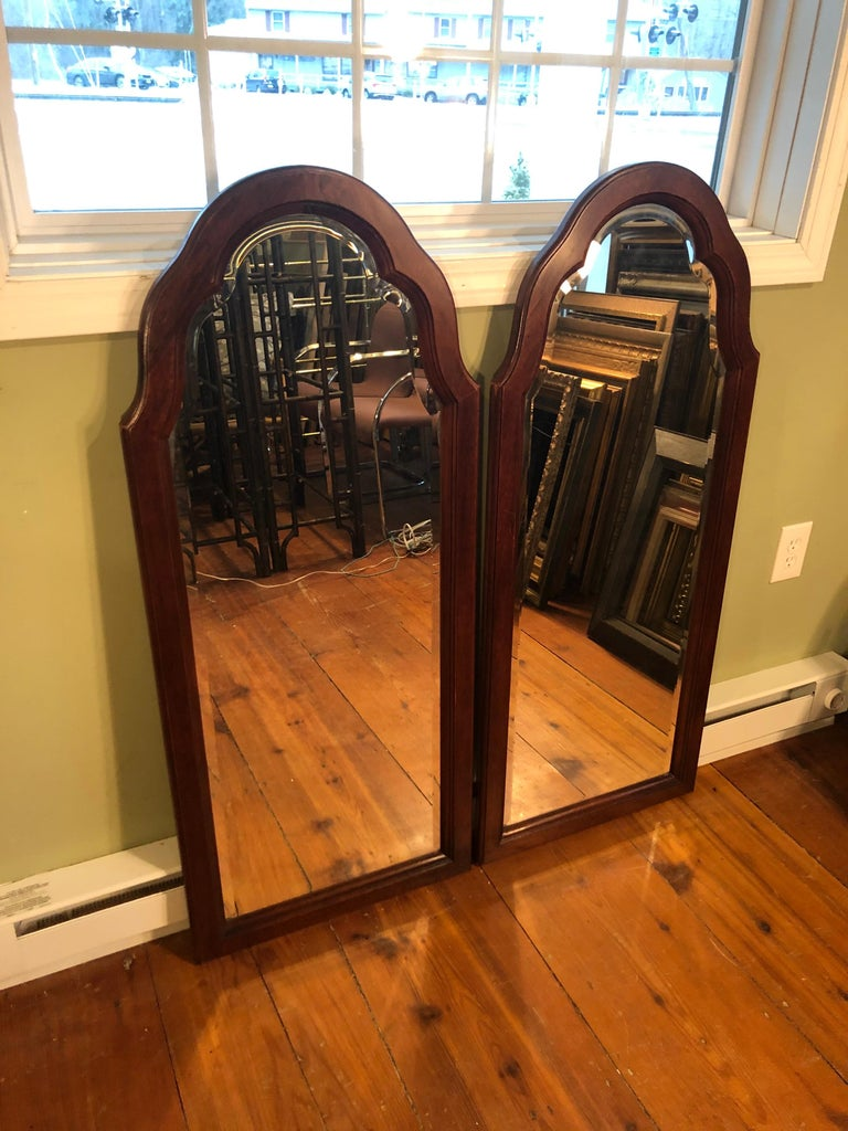 Late 20th Century Pair of Beveled Arched Mirrors