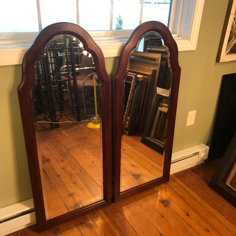 Pair of Beveled Arched Mirrors 1