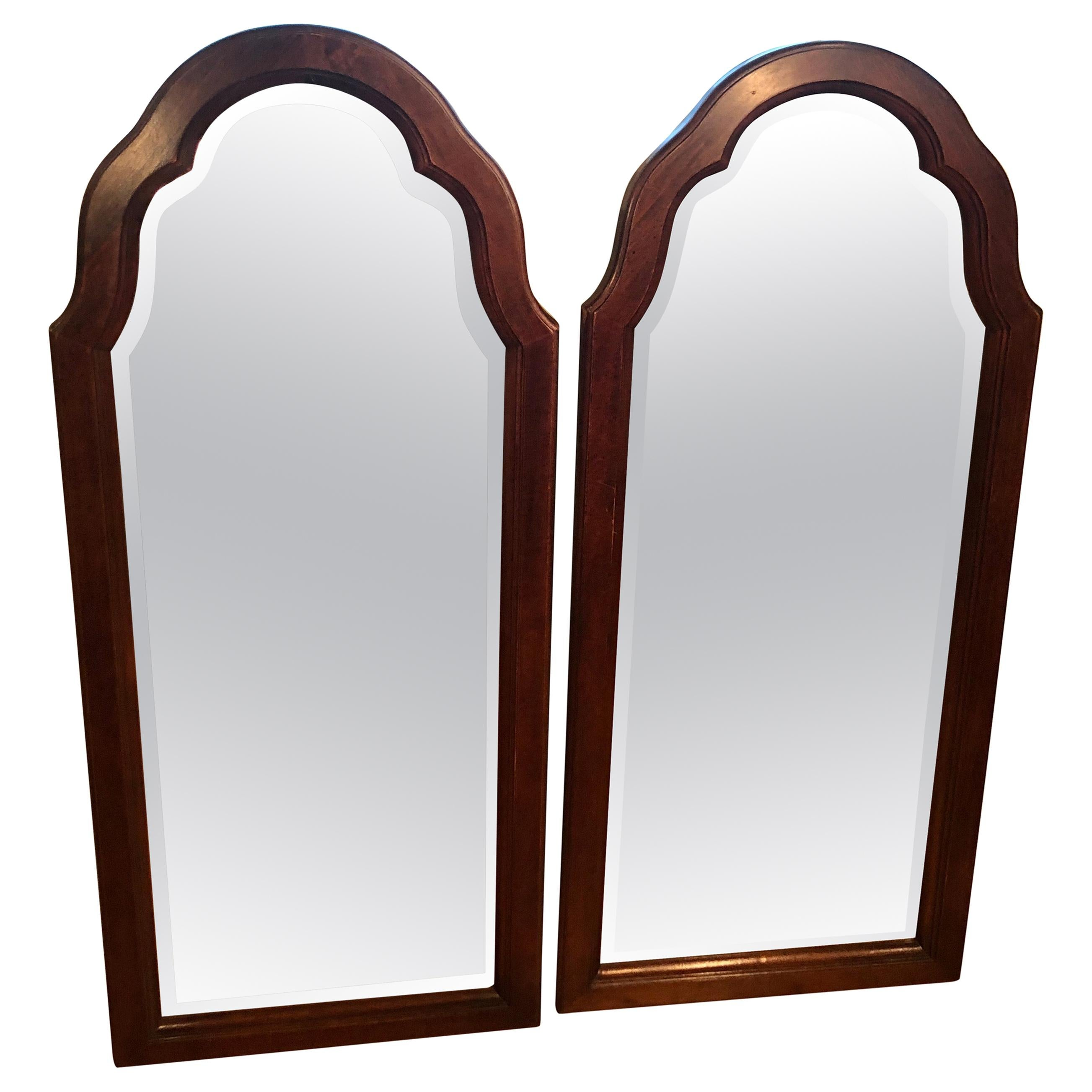 Pair of Beveled Arched Mirrors