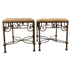 Pair of Beveled Edge Stone and Iron Side Tables
