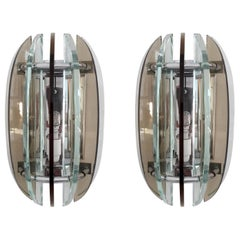 Pair of Beveled Sconces by Veca