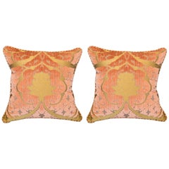 Pair of Bevilacqua Pink and Gold Silk Velvet Pillows with Rope Trims