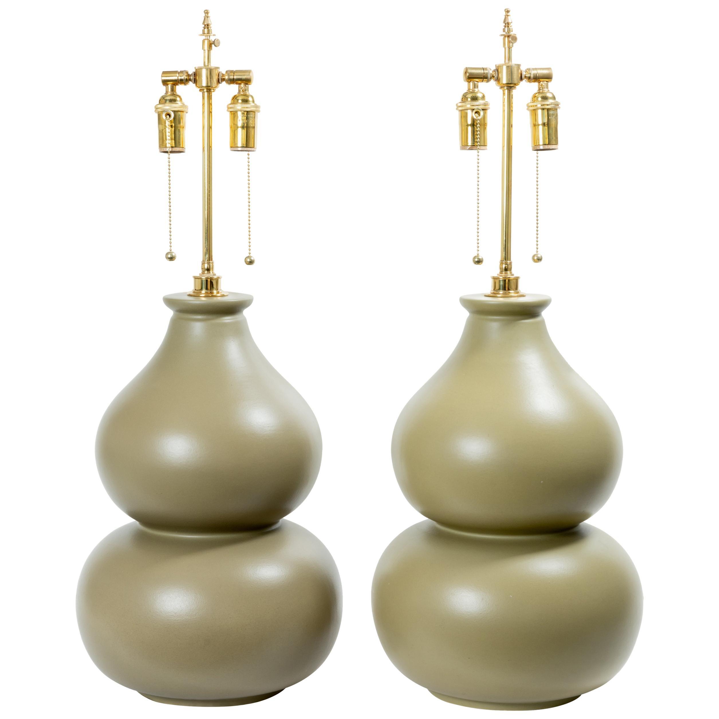 Pair of Bi-Color Gourd Form Ceramic Table Lamps