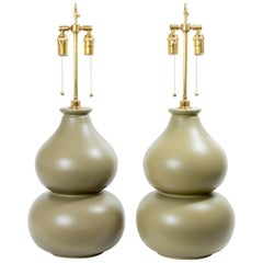 Pair of Bi-Color Gourd Form Ceramic Table Lamps