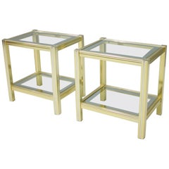 Pair of Bi-Color Side or End Tables in Brass, Glass, and Chrome, 1970s