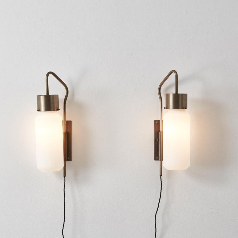 Mid-Century Modern Pair of Bidone Wall Lights by Luigi Caccia Dominioni for Azucena, Italy