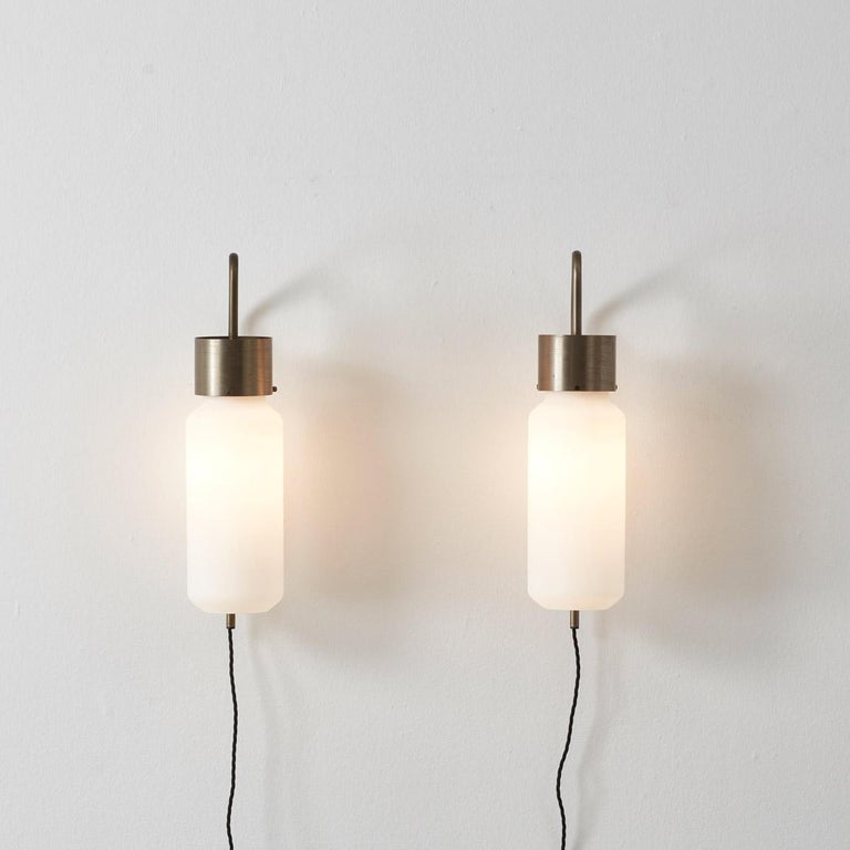 Frosted Pair of Bidone Wall Lights by Luigi Caccia Dominioni for Azucena, Italy