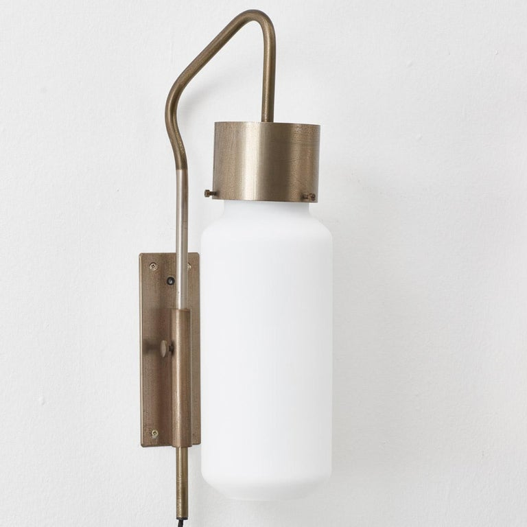 Brass Pair of Bidone Wall Lights by Luigi Caccia Dominioni for Azucena, Italy