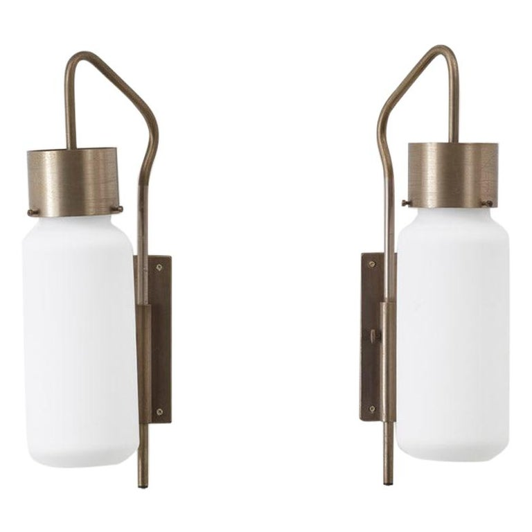 Pair of Bidone Wall Lights by Luigi Caccia Dominioni for Azucena, Italy