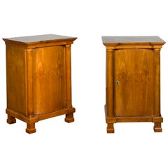 Pair of Biedermeier 1840s Walnut Cabinets with Bombé Doors and Semi-Columns