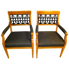 Pair of Biedermeier Armchairs, Cherry, South Germany, circa 1830
