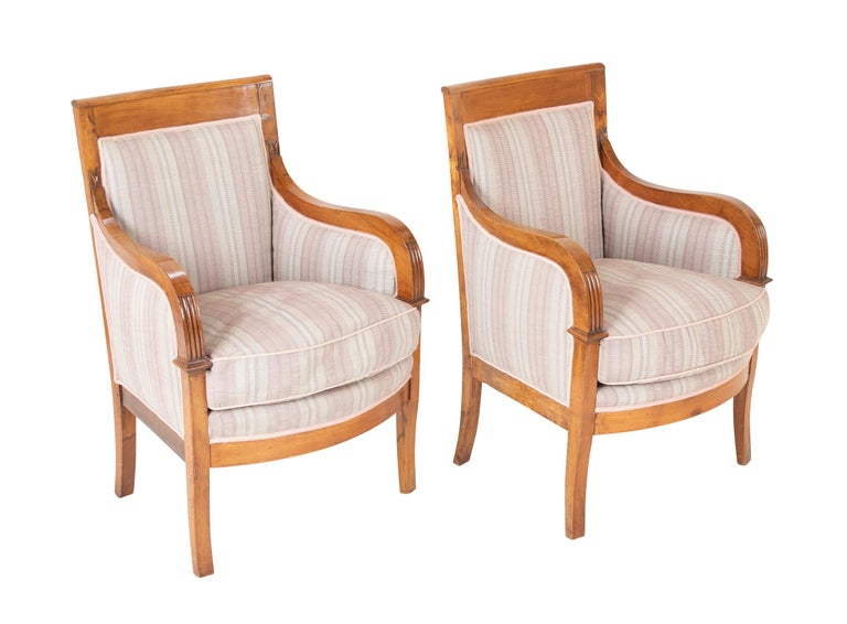 A pair of Biedermeier armchairs from the estate of Milton & Beatrice Stern, Greenwich, CT.  Featured on the October 1991 cover of Architectural Digest.  Seat height : 18