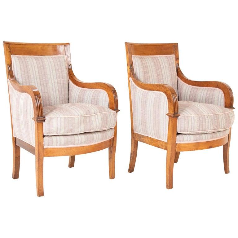 Pair of Biedermeier Armchairs For Sale