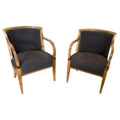 Pair of Biedermeier Birch Bergere Armchairs