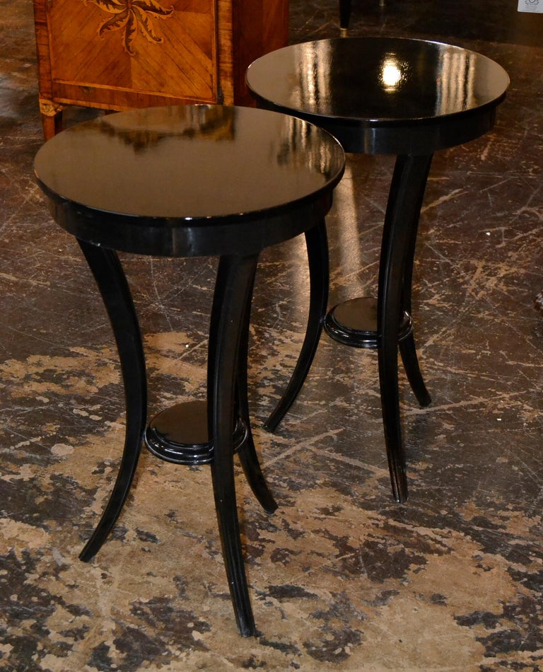 American Pair of Biedermeier Style Black Lacquered Side Tables For Sale