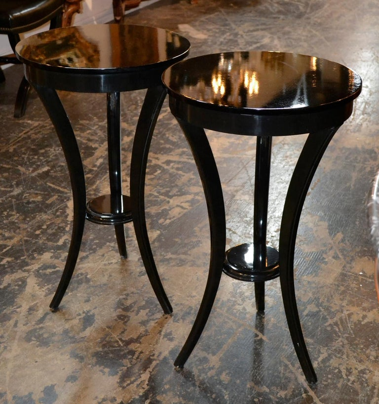Contemporary Pair of Biedermeier Style Black Lacquered Side Tables For Sale