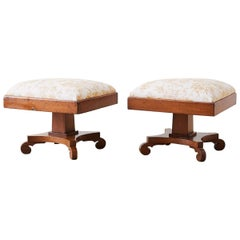 Pair of Biedermeier Carved Footstools with Fortuny Upholstery
