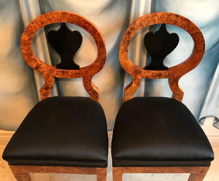 Veneer Pair of Biedermeier Chairs, Baltic States 1810-20 For Sale