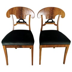 Pair of Biedermeier Chairs in Birch Austria