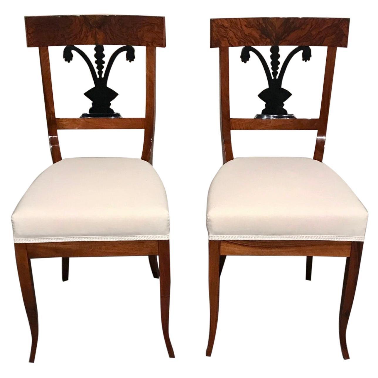 Pair of Biedermeier Chairs, South German 1820, Walnut
