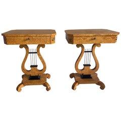 Pair of Biedermeier Lyre Sewing Tables B239