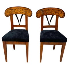 Pair of Biedermeier Shovel Chairs, Walnut, Ink Painting, South Germany, ca. 1830