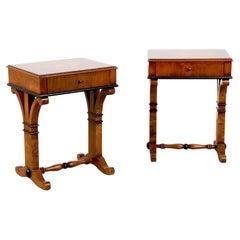 Pair of Biedermeier Style Burl & Ebonized End Tables or Nightstands