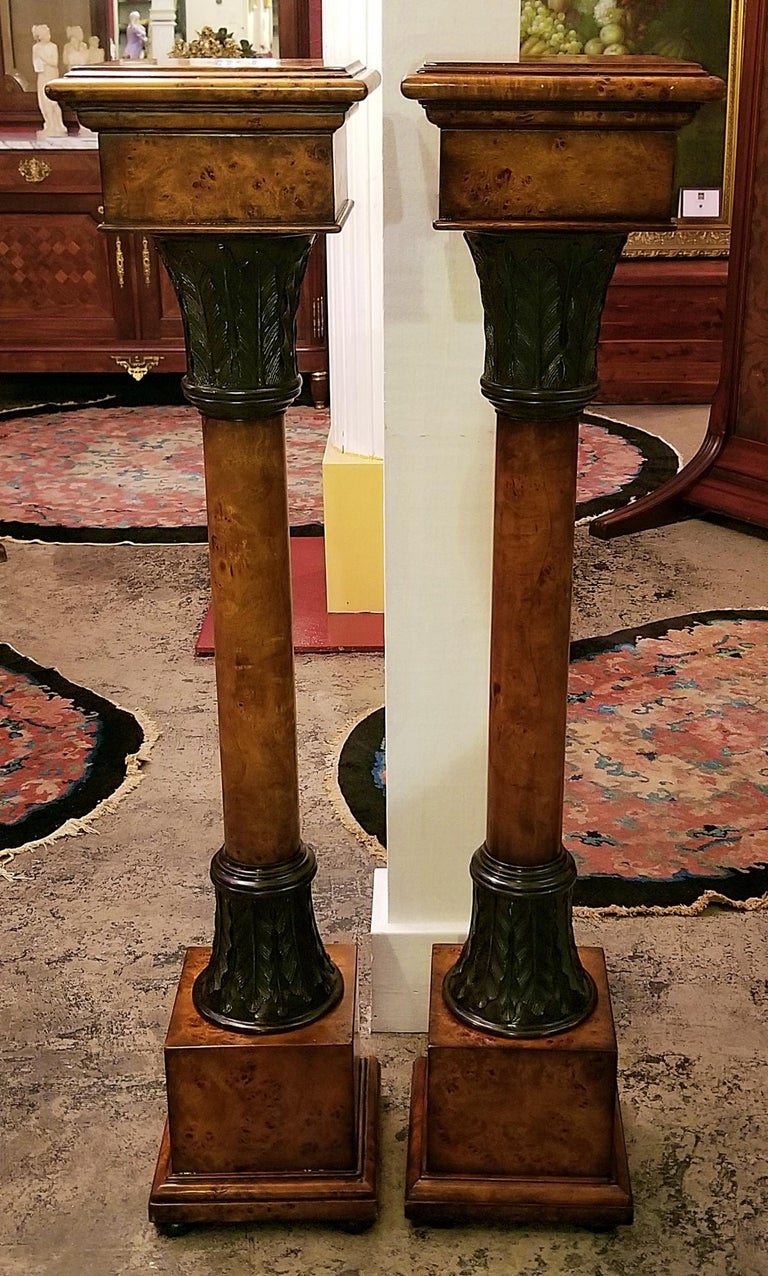 Pair of Biedermeier Style Burl Yewood and Bronze Mounted Pillars For Sale 7