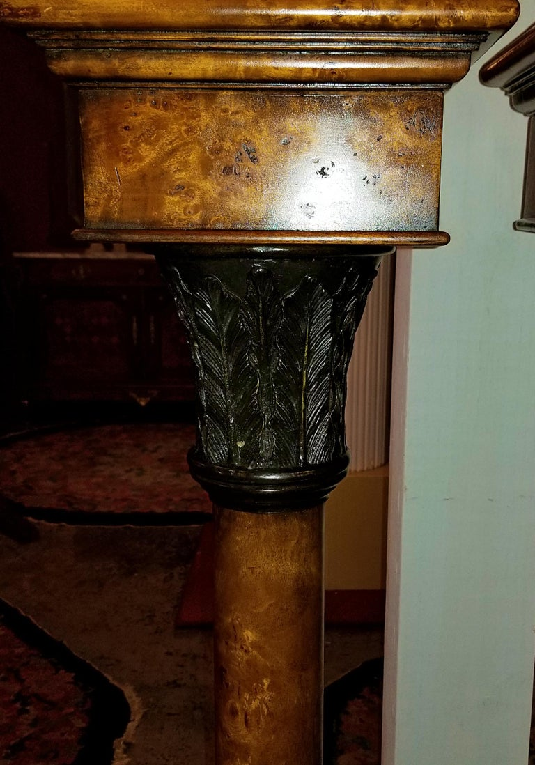 Presenting a gorgeous Pair of Biedermeier Style Burl Yewood and bronze-mounted pillars.  Probably 20th century and possibly made by the high-end manufacturer, Theodore Alexander of NY and S. Carolina.  Made of stunning burl yewood with a