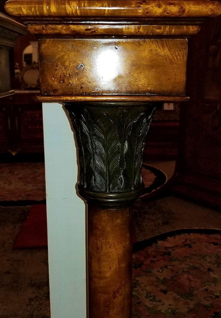 German Pair of Biedermeier Style Burl Yewood and Bronze Mounted Pillars For Sale