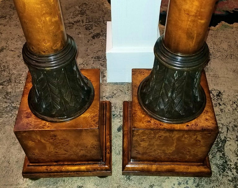 Cast Pair of Biedermeier Style Burl Yewood and Bronze Mounted Pillars For Sale