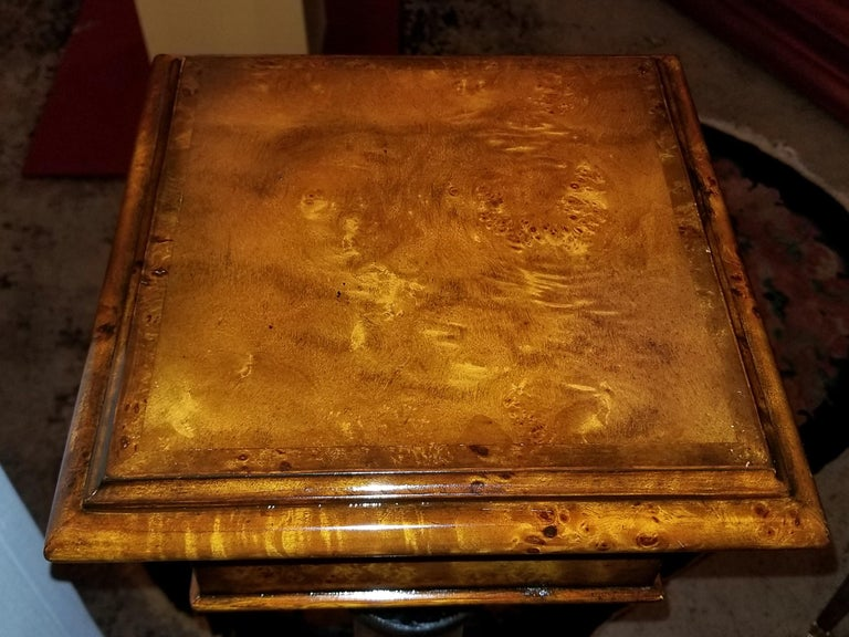 Pair of Biedermeier Style Burl Yewood and Bronze Mounted Pillars For Sale 1