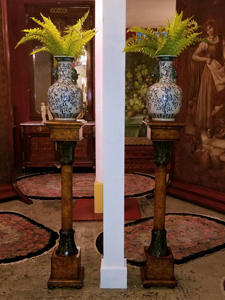 Pair of Biedermeier Style Burl Yewood and Bronze Mounted Pillars For Sale 3
