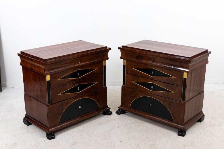 Pair of Biedermeier Style Chest of Drawers In Good Condition For Sale In Stamford, CT