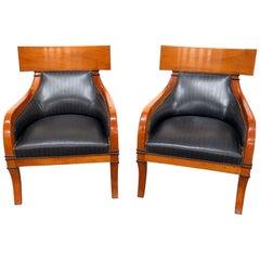 Pair of Biedermeier Style Club Chairs