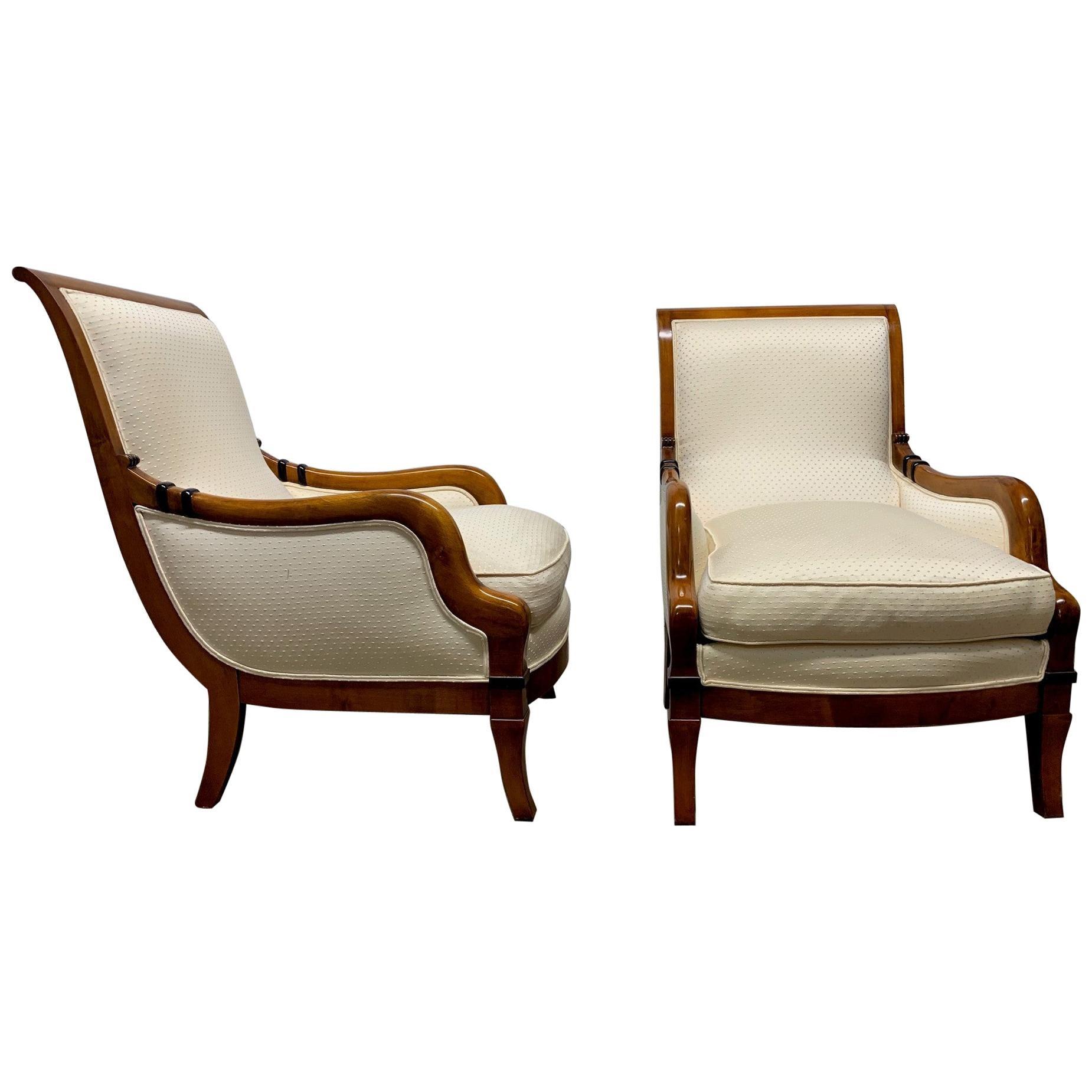Pair of Biedermeier Style Lounge Chairs