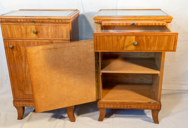 Inlay Pair of Biedermeier Style Nightstands, circa 1920 For Sale