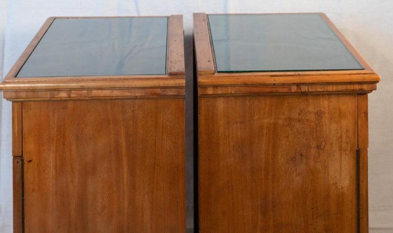 Mahogany Pair of Biedermeier Style Nightstands, circa 1920 For Sale