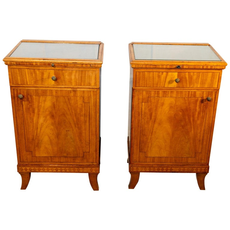 Pair of Biedermeier Style Nightstands, circa 1920 For Sale
