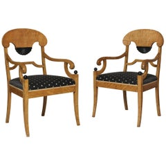 Pair of Biedermeier Style Satin Birchwood and Ebonized Armchairs